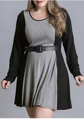 Plus Size Color Block O-Neck Mini Dress