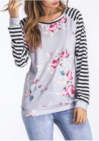 Floral Striped Splicing O-Neck Sweatshirt