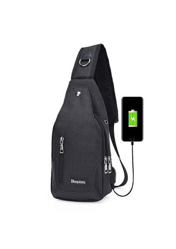 Multi-Layered Zipper Chest Bag with USB Charging Port