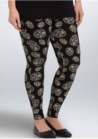 Halloween Plus Size Skull Elastic Waist Leggings