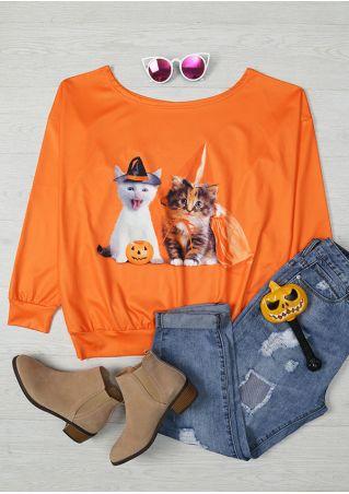Halloween Cat Pumpkin Face Printed T-Shirt