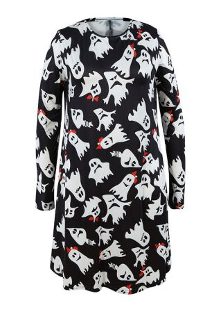 Halloween Plus Size Ghost O-Neck Casual Dress