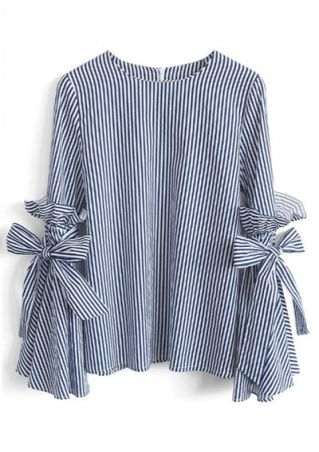 Plus Size Striped Flare Sleeve Tie Blouse