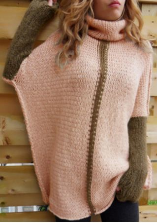 Color Block Thumbholes Long Sleeve Sweater