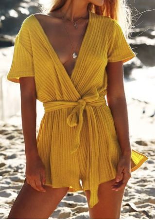 Solid Deep V-Neck Romper with Belt without Necklace
