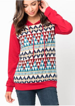 Geometric Splicing Drawstring Hoodie without Necklace