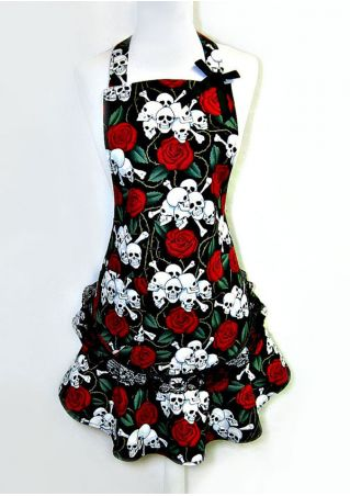 Halloween Floral Skull Printed Lace Splicing Apron