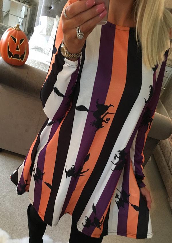 Halloween Striped Witch Broomstick Printed Mini Dress 157529