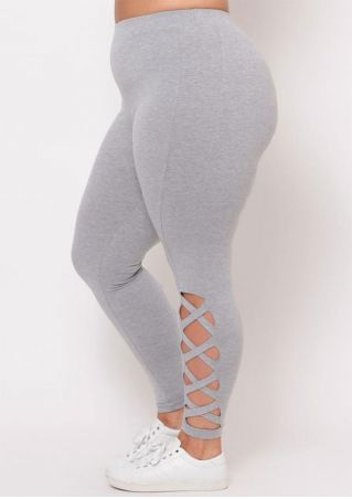 Plus Size Solid Criss-Cross Elastic Waist Leggings