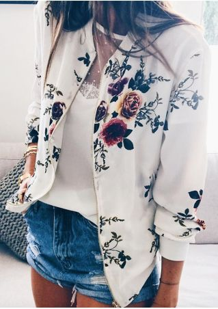 Floral Pocket Zipper Long Sleeve Jacket