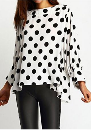 Polka Dot Ruffled Long Sleeve Blouse