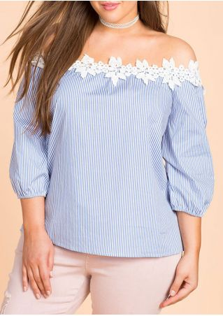 Plus Size Striped Off Shoulder Blouse without Necklace