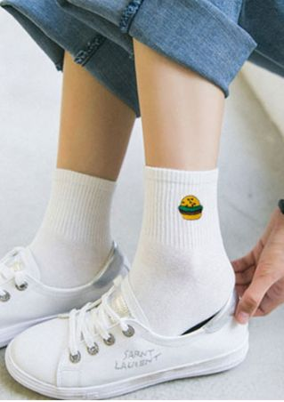 Hamburg Embroidery Fashion Socks