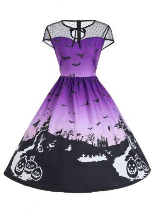 Halloween Pumpkin Bat Ruffled Casual Dress