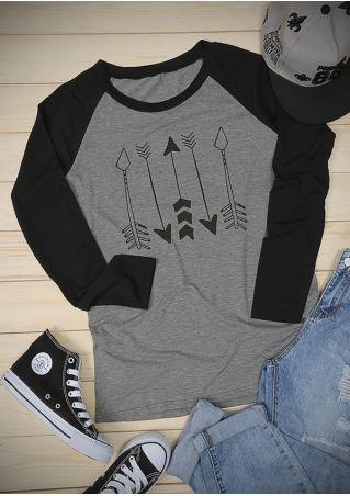 Arrow O-Neck Long Sleeve Baseball T-Shirt