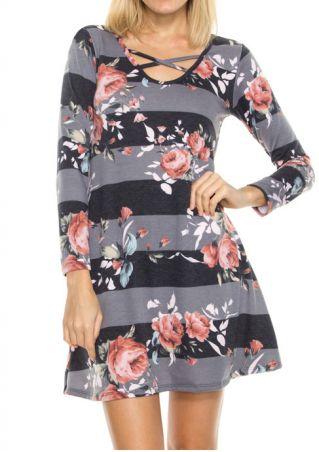 Floral Striped Criss-Cross Mini Dress