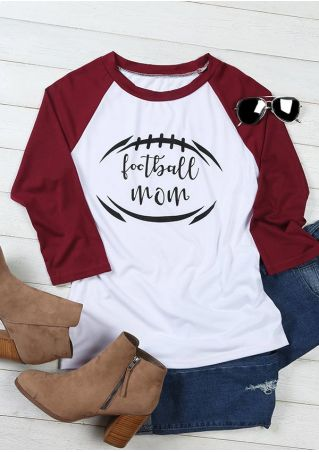 Football Mom Printed Baseball T-Shirt