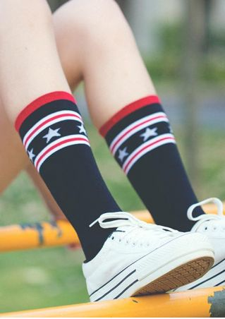 Star Striped Long Socks