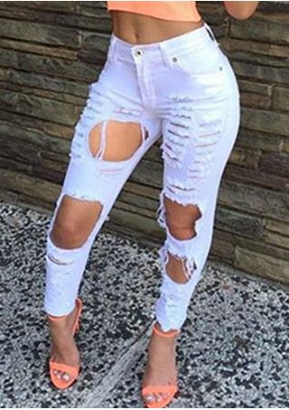 Solid Ripped Hole Denim Pants