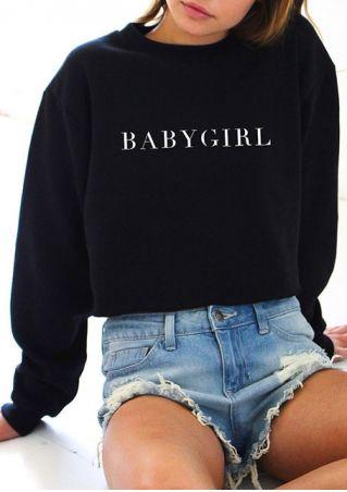 Babygirl O-Neck Long Sleeve Sweatshirt