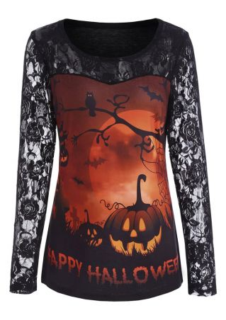Happy Halloween Pumpkin Lace Floral T-Shirt