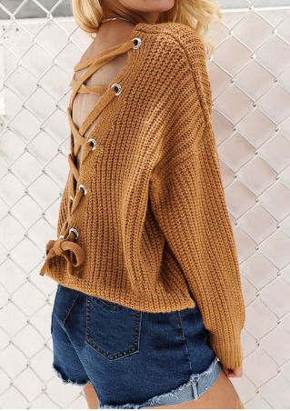 Solid Back Lace Up Sweater without Necklace