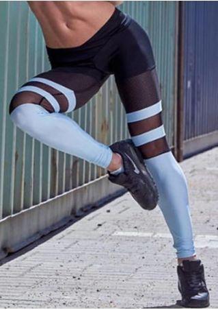 Color Block Mesh Splicing Elastic Waist Sport Pants