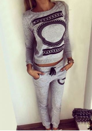 Printed Pocket Sweatshirt and Pants Set