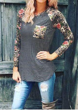 Striped Floral Leopard Printed Baseball T-Shirt