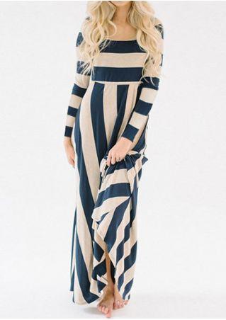 Striped Long Sleeve Maxi Dress
