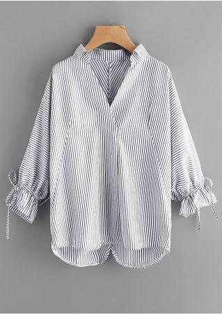 Striped Drawstring Batwing Sleeve Shirt