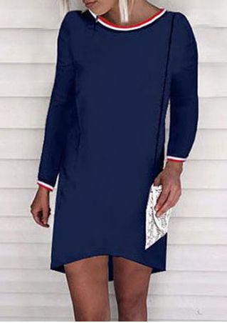 Splicing Long Sleeve Mini Dress