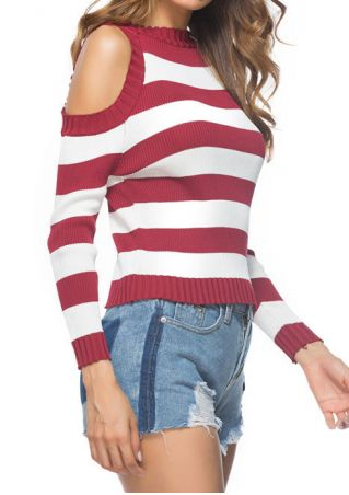 Striped Cold Shoulder O-Neck Sweater