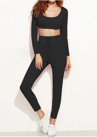 Solid Crop Top and Pants Set