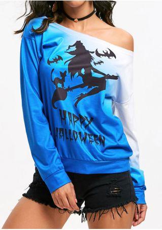 Happy Halloween One Shoulder Sweatshirt without Necklace