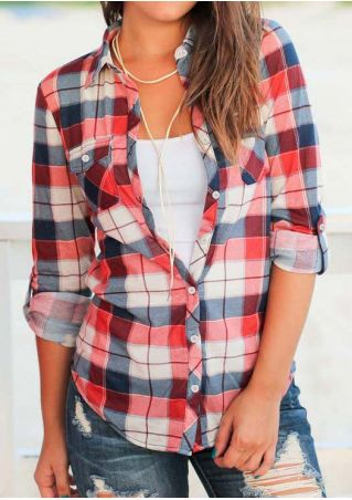 Plaid Tab-Sleeve Pocket Shirt without Necklace