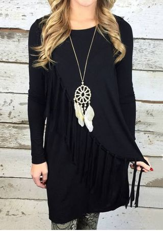 Solid Fringe O-Neck Mini Dress without Necklace