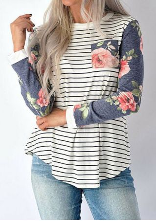 Striped Floral Splicing Pocket T-Shirt