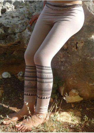 Geometric Printed Elastic Waist Skinny Leggings