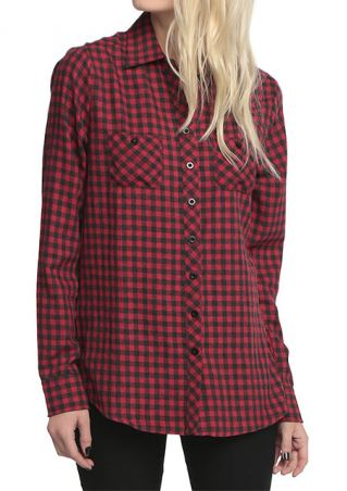 Skull Plaid Casual Long Sleeve Shirt