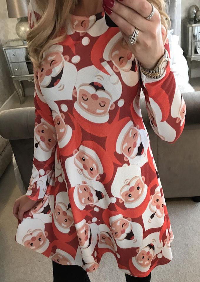 Christmas santa claus printed mini dress bellelily