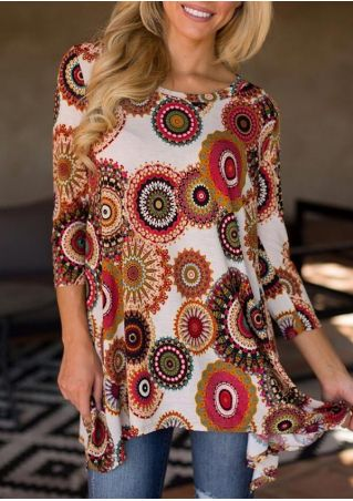 Printed Three-Quarter Sleeve Blouse