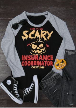 Halloween Pumpkin Scary Insurance Coordinator Baseball T-Shirt