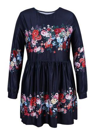 Plus Size Floral O-Neck Mini Dress