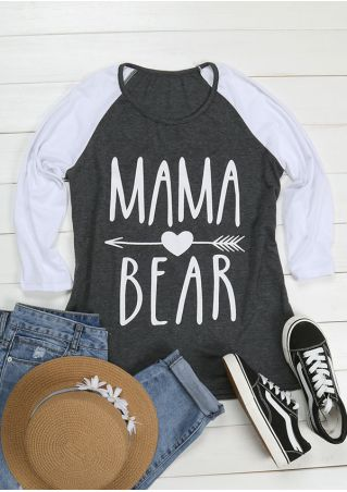 Mama Bear Arrow Striped Splicing Baseball T-Shirt