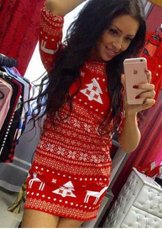 Christmas Reindeer Tree Mini Dress