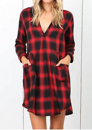 Plaid Pocket V-Neck Mini Dress