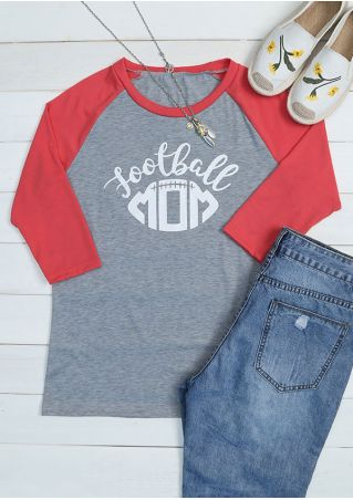 Football Mom O-Neck Baseball T-Shirt