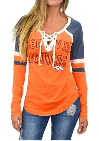 Denver Broncos Lace Up Baseball T-Shirt