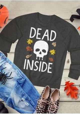 Halloween Dead Inside Skull Leaf T-Shirt